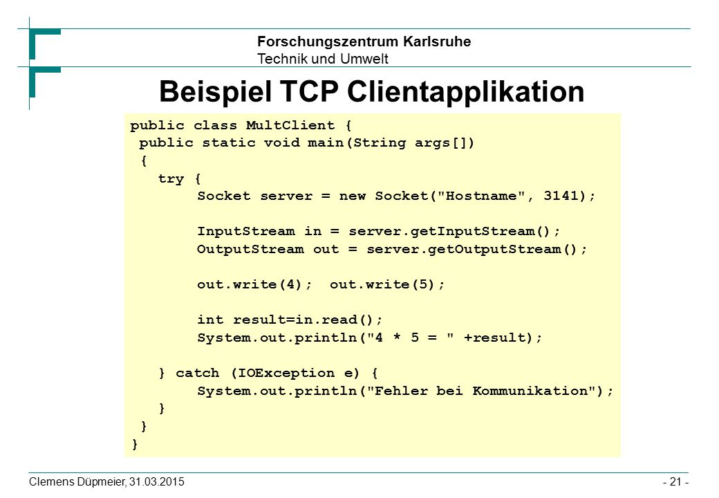 Beispiel TCP Clientapplikation