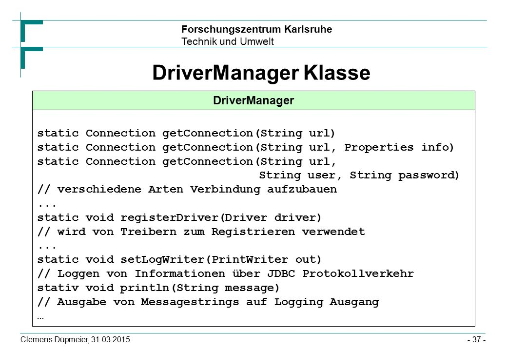 DriverManager Klasse DriverManager