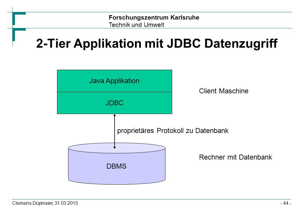 2-Tier Applikation mit JDBC Datenzugriff