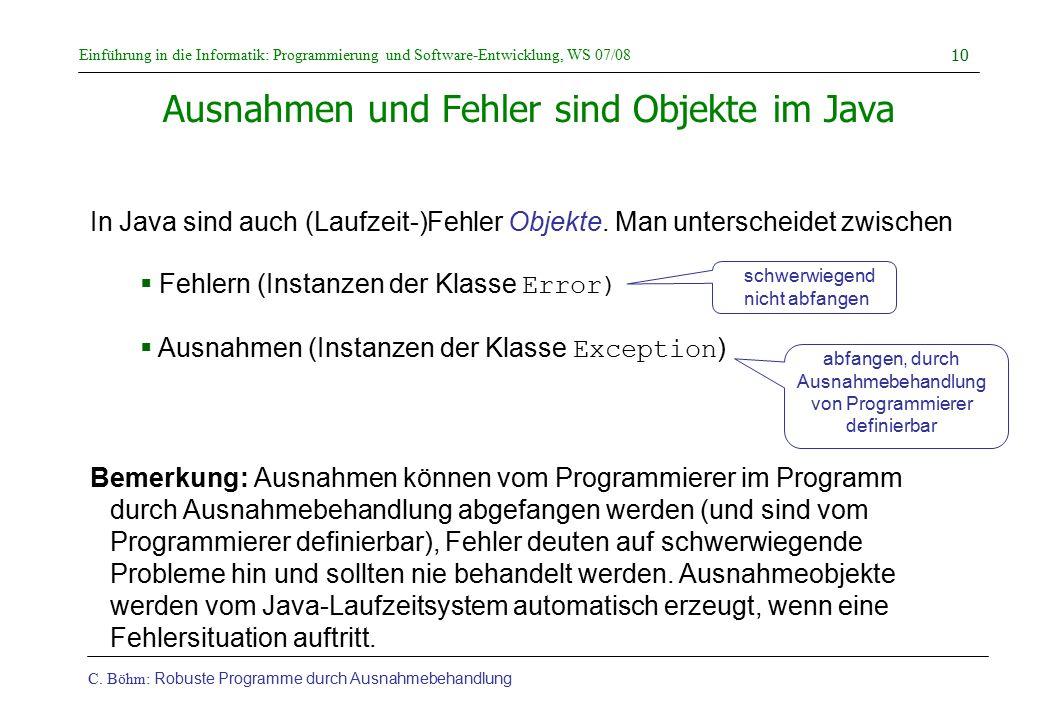 Ausnahmen und Fehler sind Objekte im Java