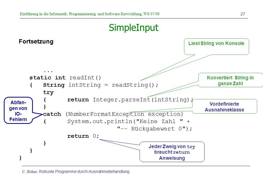 Konvertiert String in ganze Zahl Vordefinierte Ausnahmeklasse