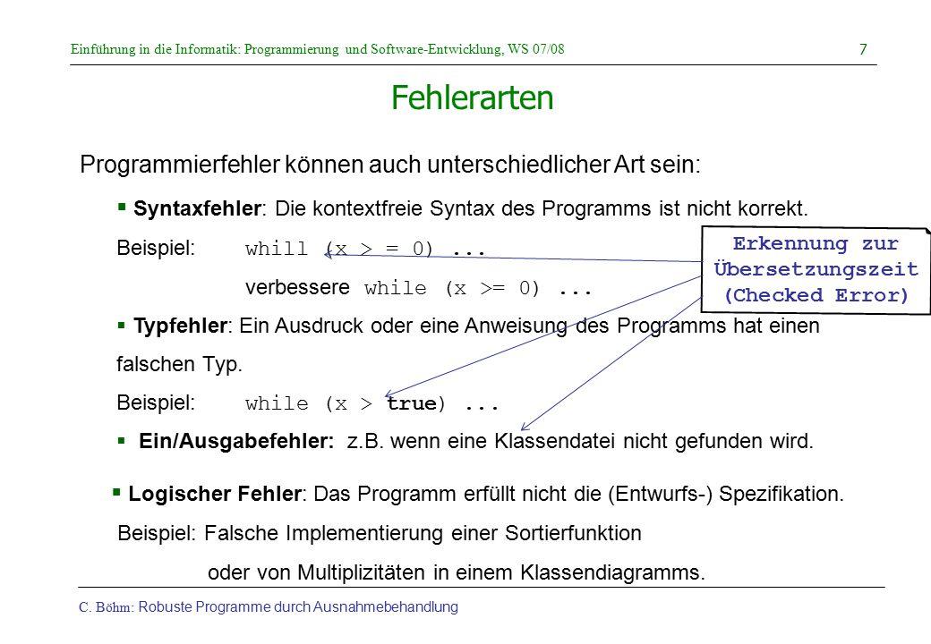 Erkennung zur Übersetzungszeit (Checked Error)