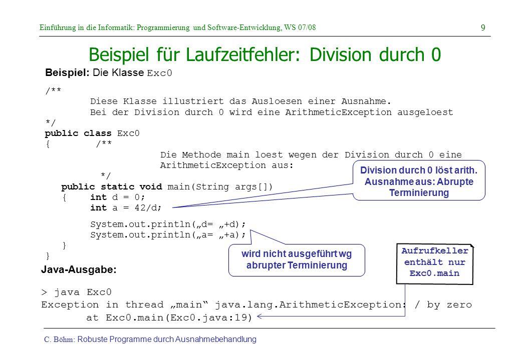 Beispiel für Laufzeitfehler: Division durch 0