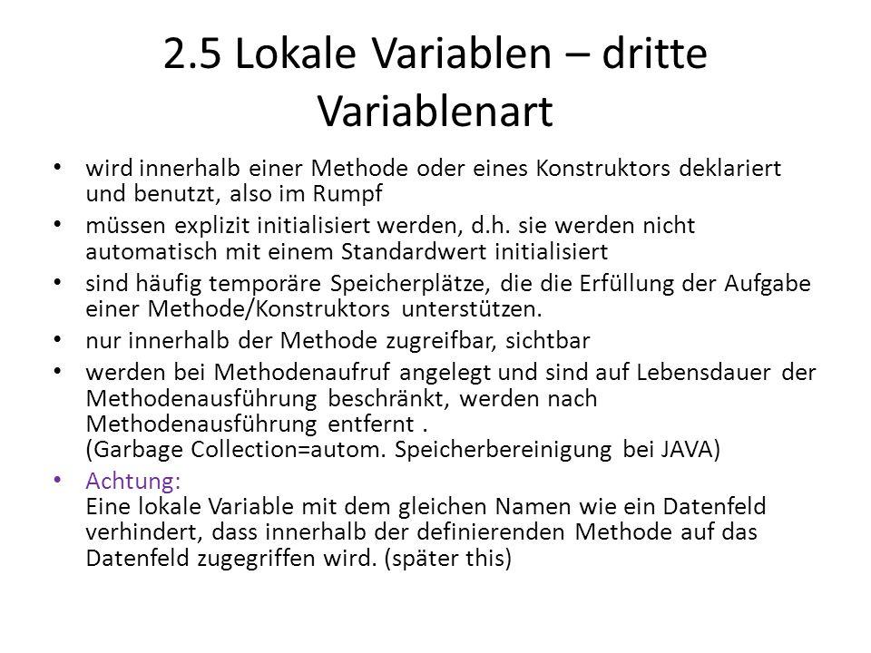 2.5 Lokale Variablen – dritte Variablenart