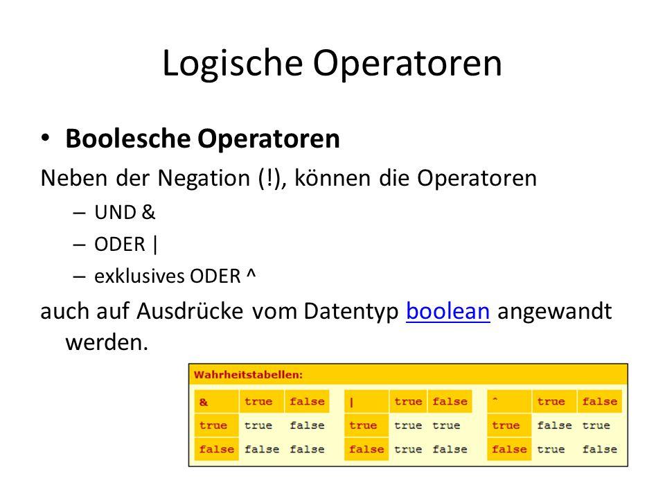 Logische Operatoren Boolesche Operatoren