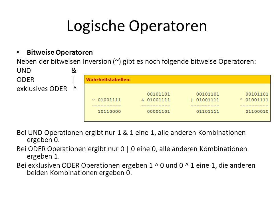 Logische Operatoren Bitweise Operatoren