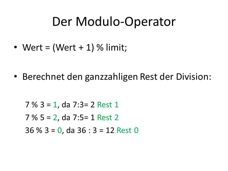 Der Modulo-Operator Wert = (Wert + 1) % limit;
