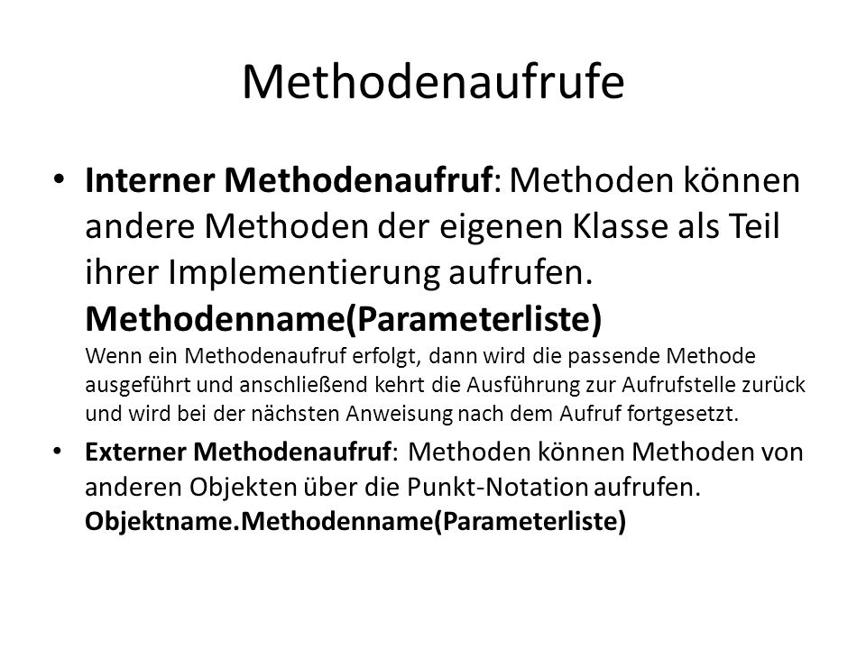 Methodenaufrufe