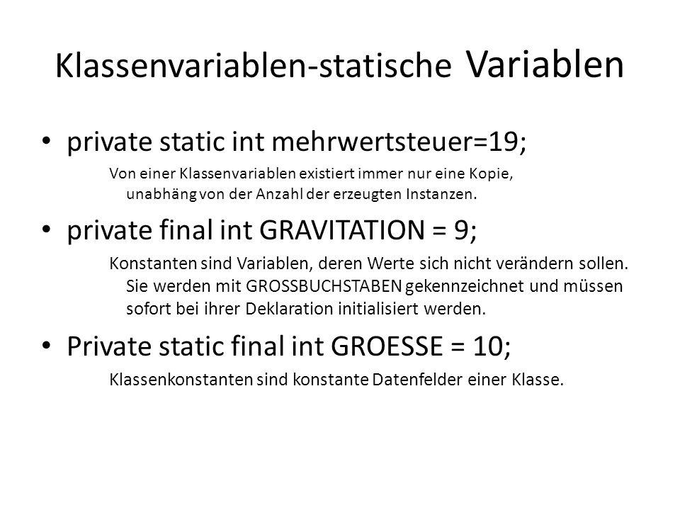 Klassenvariablen-statische Variablen