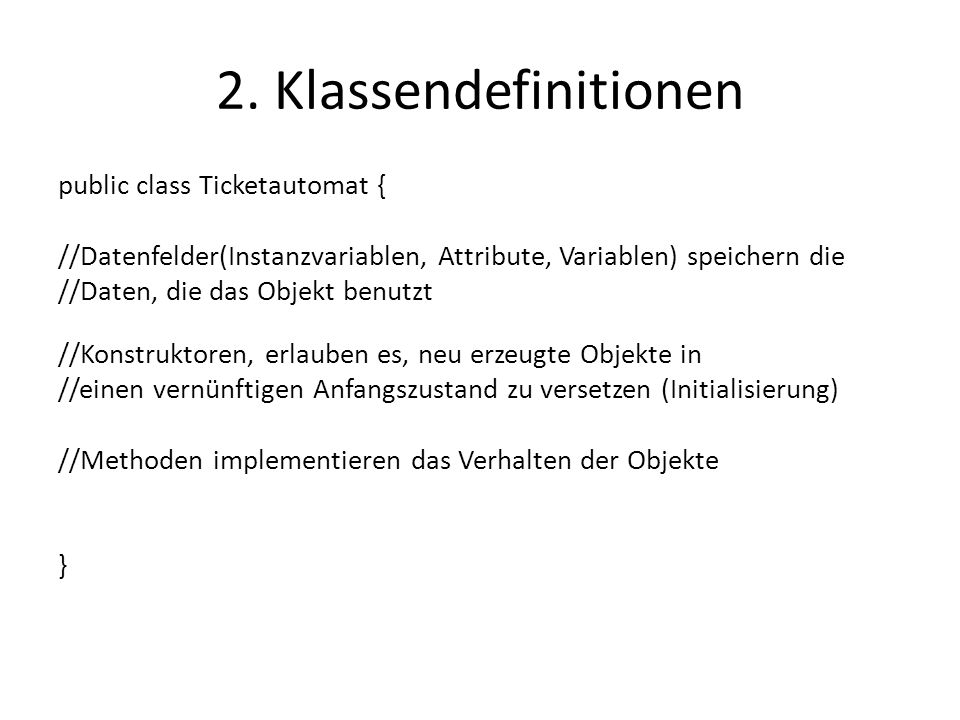 2. Klassendefinitionen