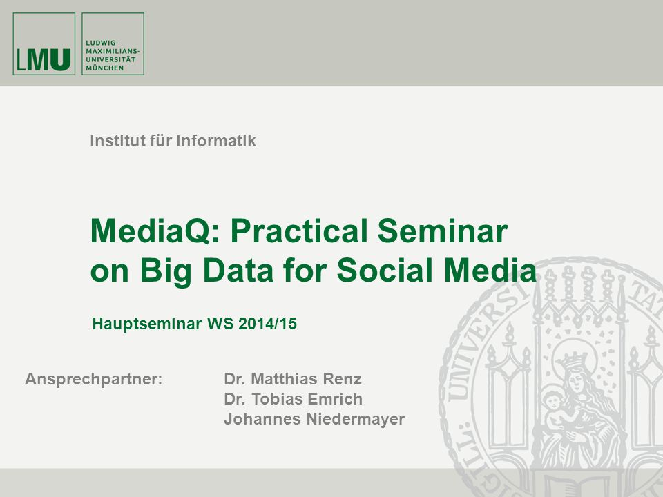 MediaQ: Practical Seminar on Big Data for Social Media