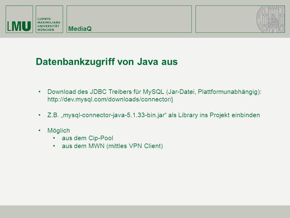 Datenbankzugriff von Java aus