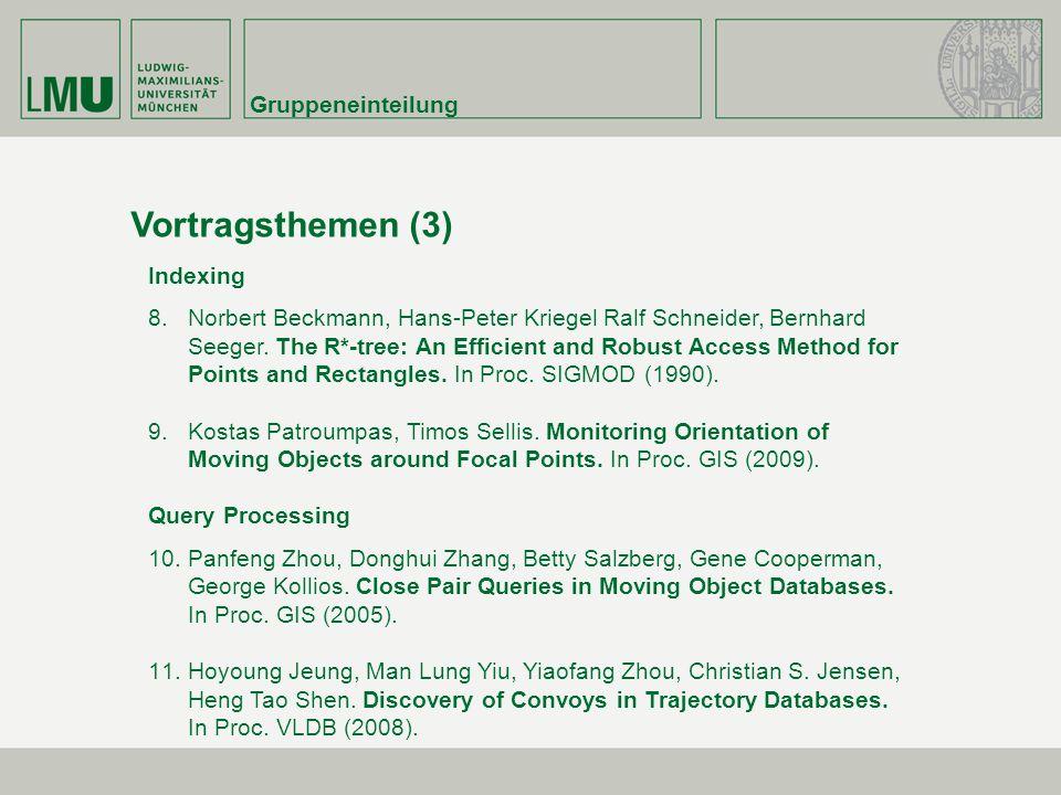 Vortragsthemen (3) Gruppeneinteilung Indexing