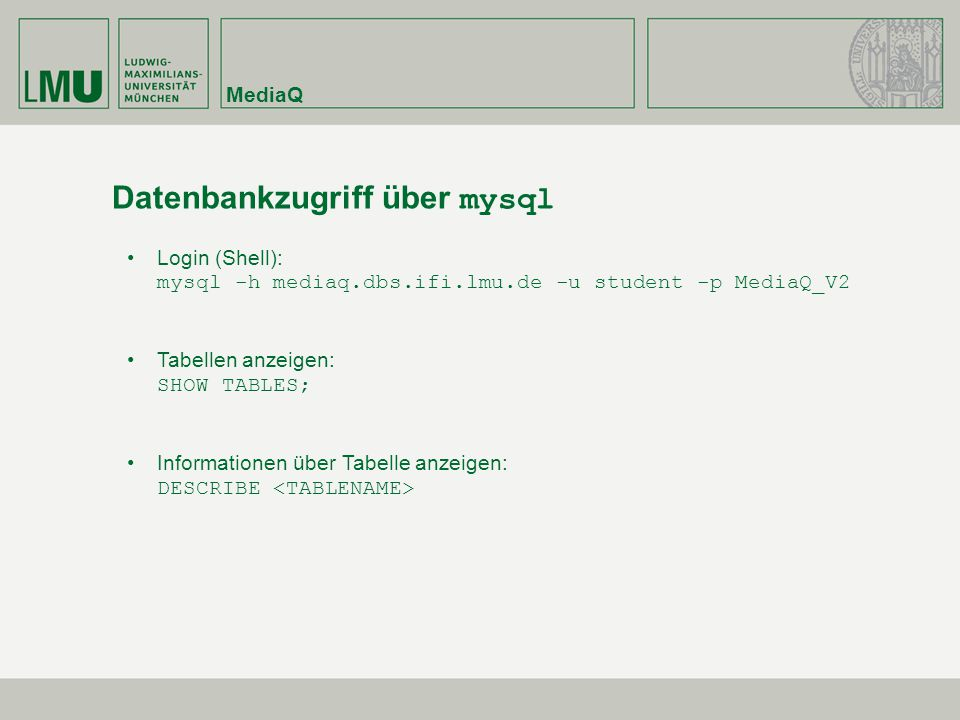 Datenbankzugriff über mysql