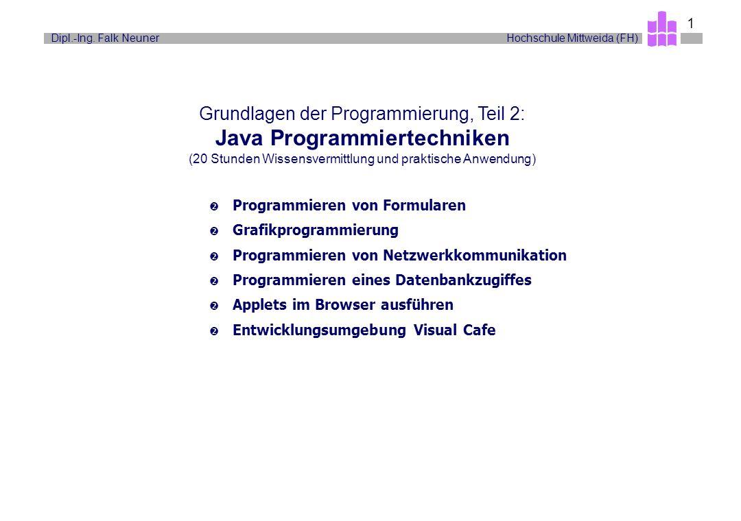 Grundlagen der Programmierung, Teil 2: Java Programmiertechniken (20 Stunden Wissensvermittlung und praktische Anwendung)