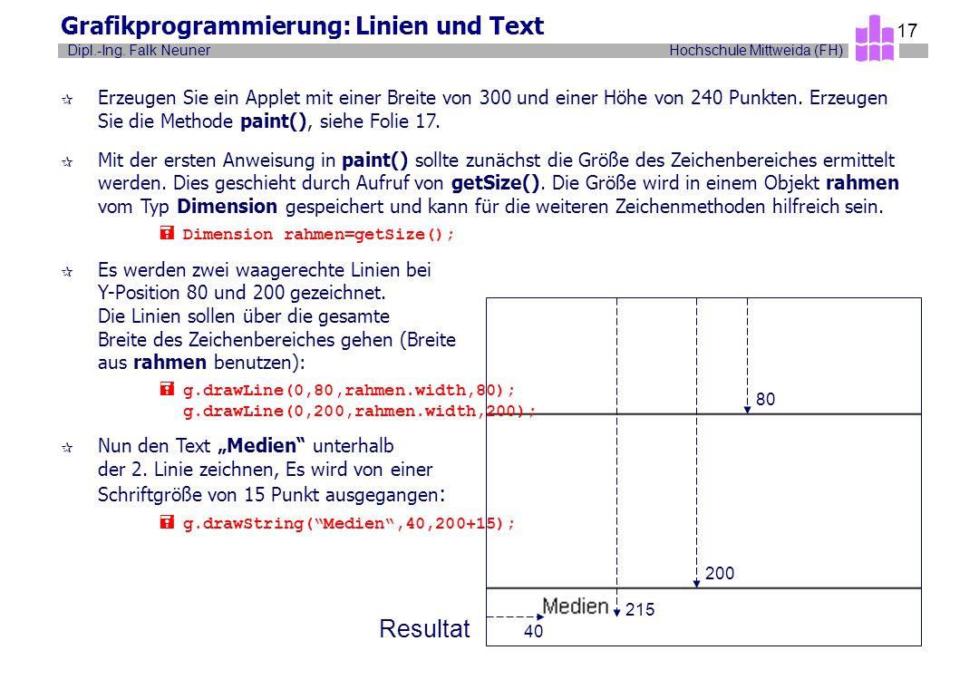 Grafikprogrammierung: Linien und Text