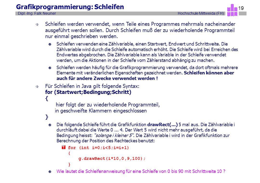 Grafikprogrammierung: Schleifen