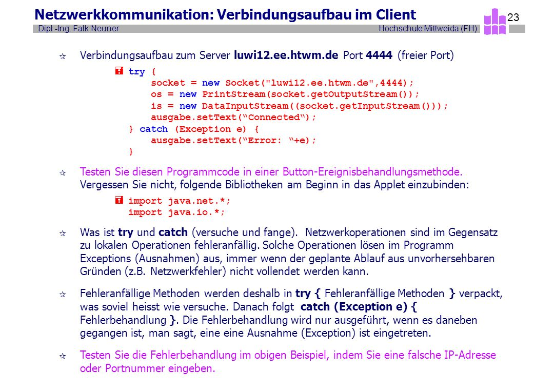Netzwerkkommunikation: Verbindungsaufbau im Client