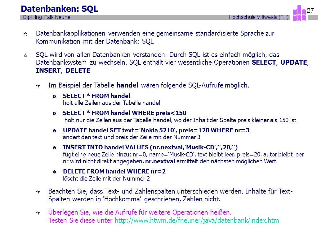 Datenbanken: SQL Datenbankapplikationen verwenden eine gemeinsame standardisierte Sprache zur Kommunikation mit der Datenbank: SQL.