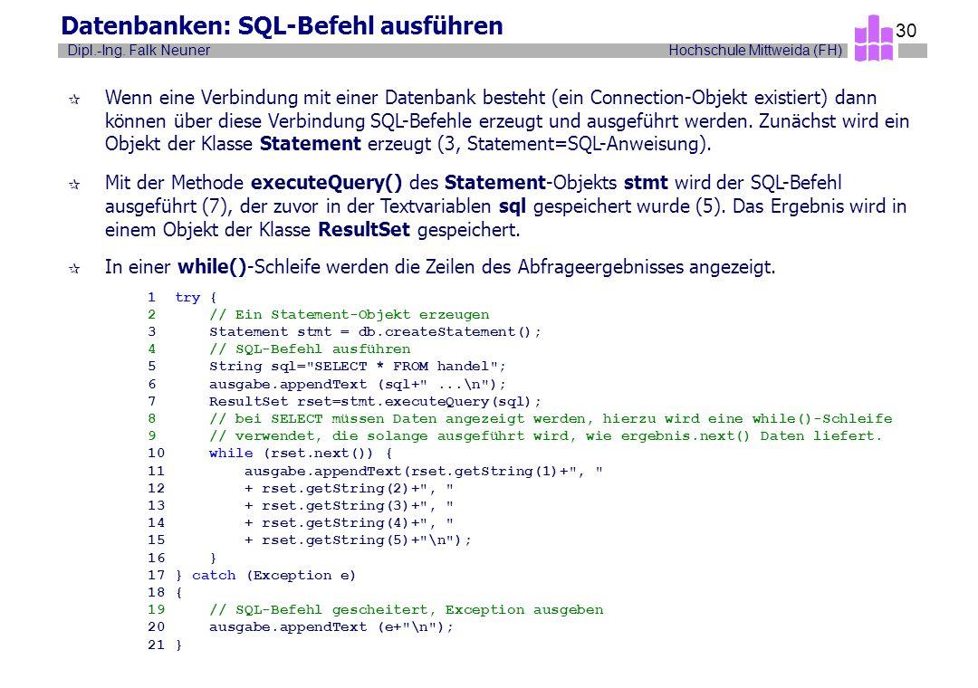 Datenbanken: SQL-Befehl ausführen