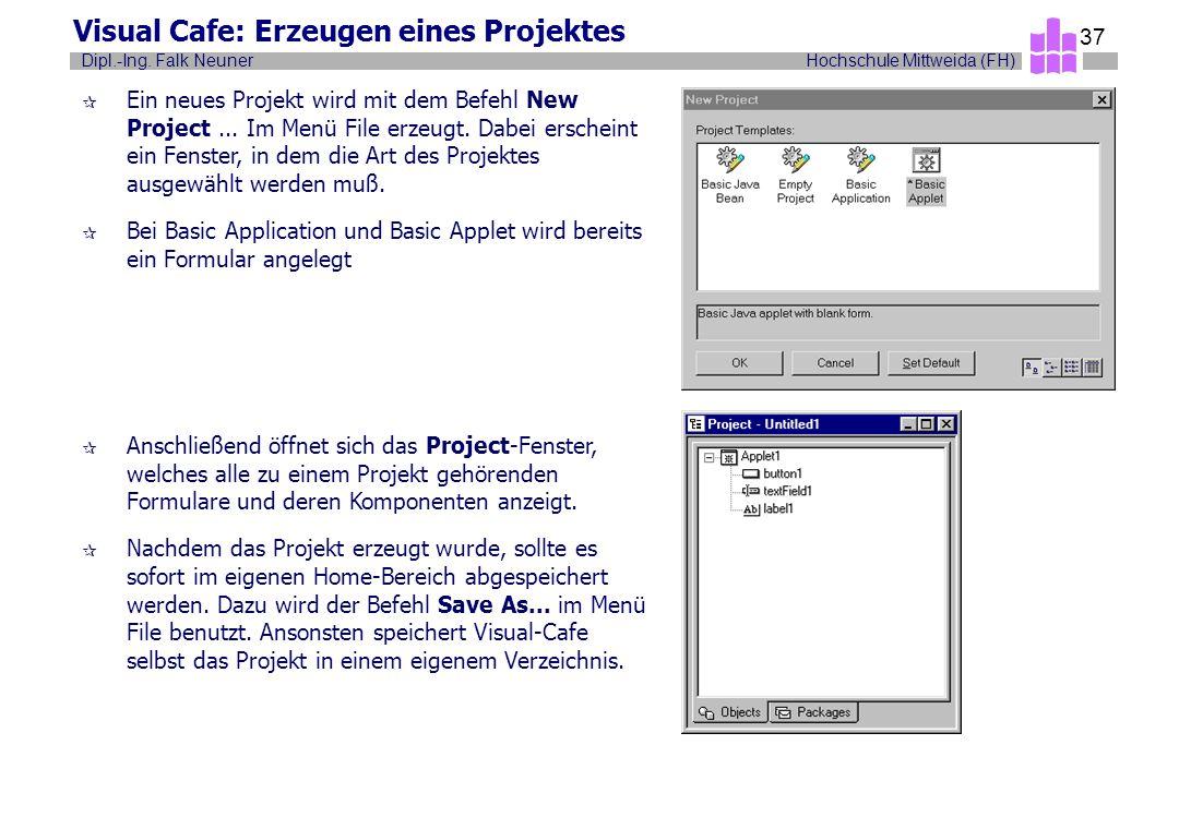 Visual Cafe: Erzeugen eines Projektes