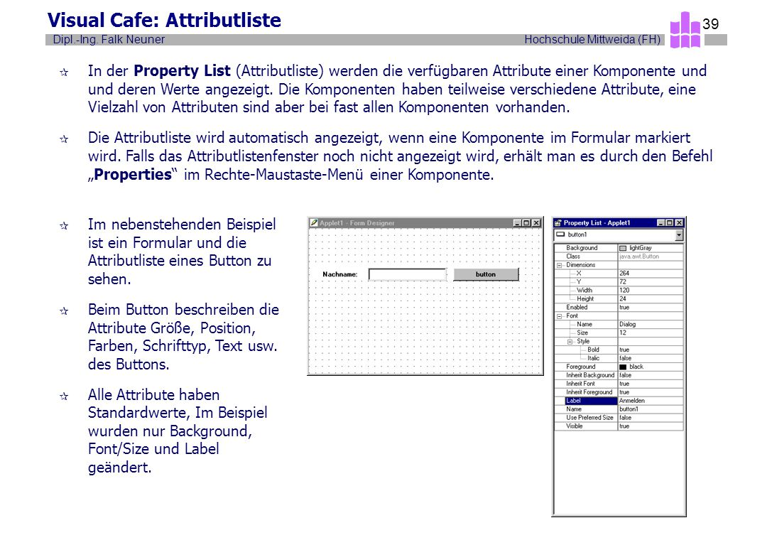 Visual Cafe: Attributliste