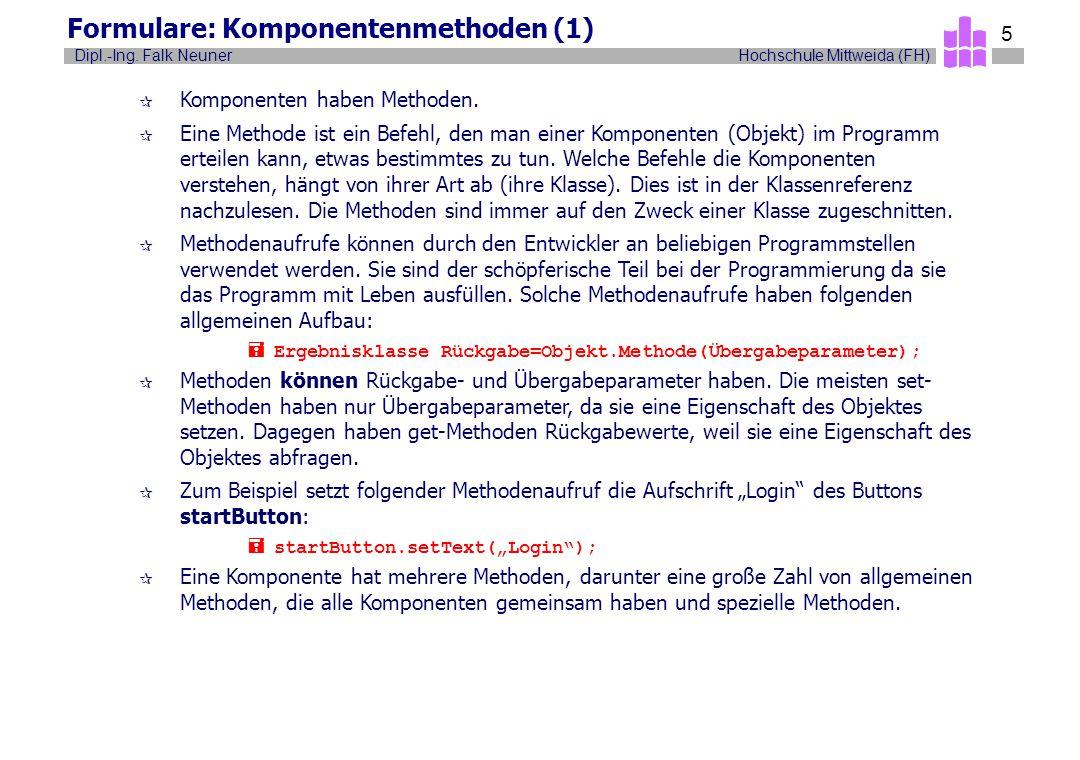 Formulare: Komponentenmethoden (1)