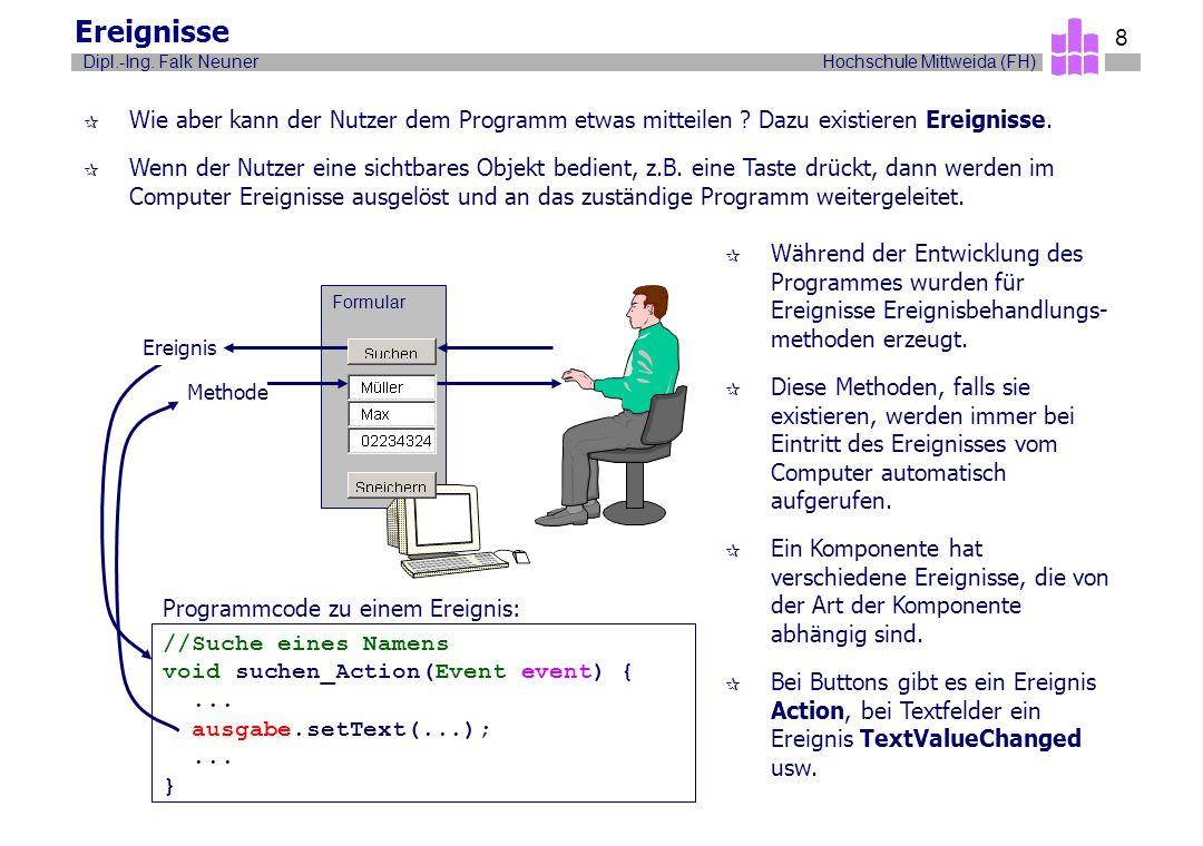 Ereignisse Wie aber kann der Nutzer dem Programm etwas mitteilen Dazu existieren Ereignisse.