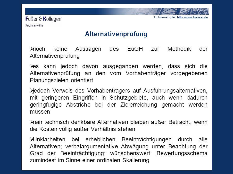 Alternativenprüfung noch keine Aussagen des EuGH zur Methodik der Alternativenprüfung.