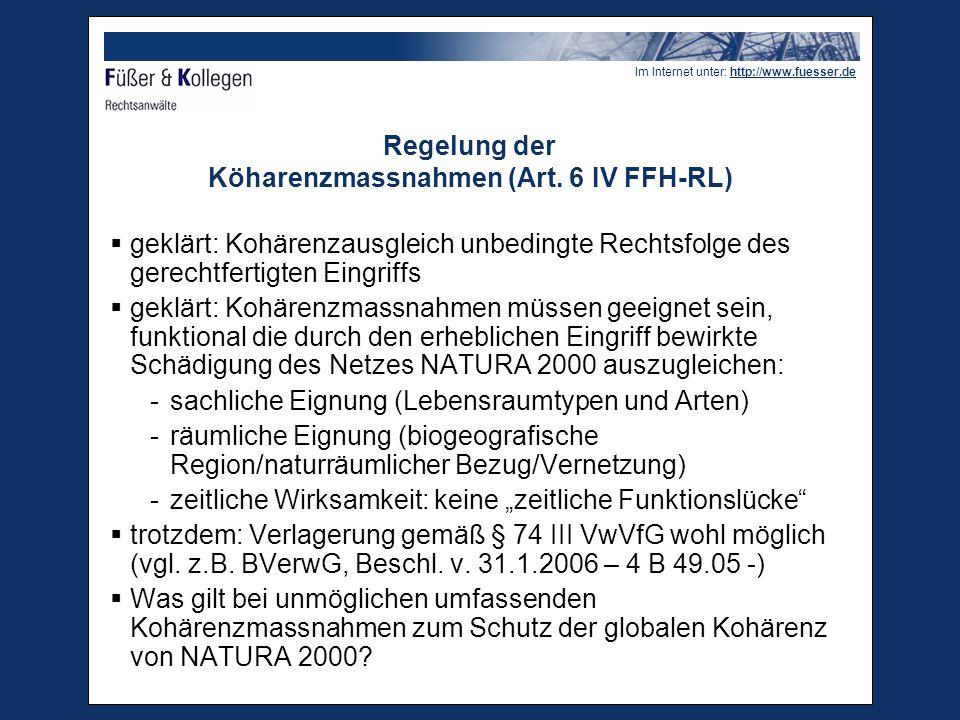 Regelung der Köharenzmassnahmen (Art. 6 IV FFH-RL)
