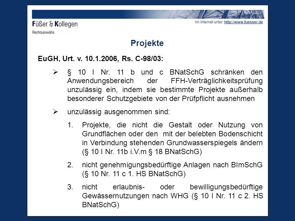 Projekte EuGH, Urt. v. 10.1.2006, Rs. C-98/03: