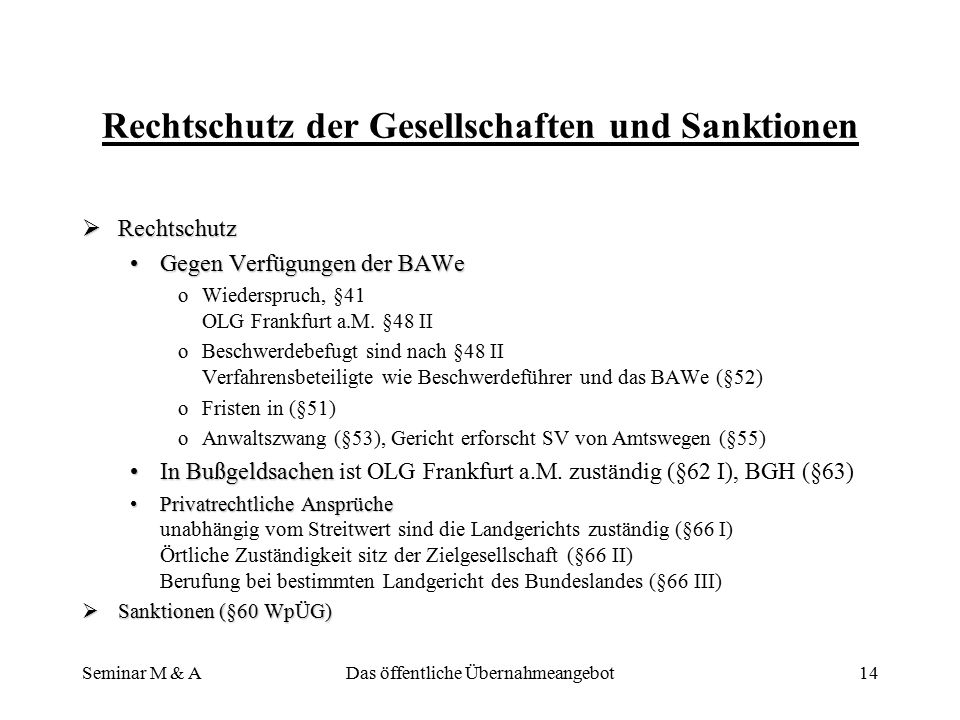 Rechtschutz der Gesellschaften und Sanktionen