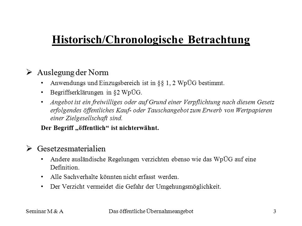 Historisch/Chronologische Betrachtung