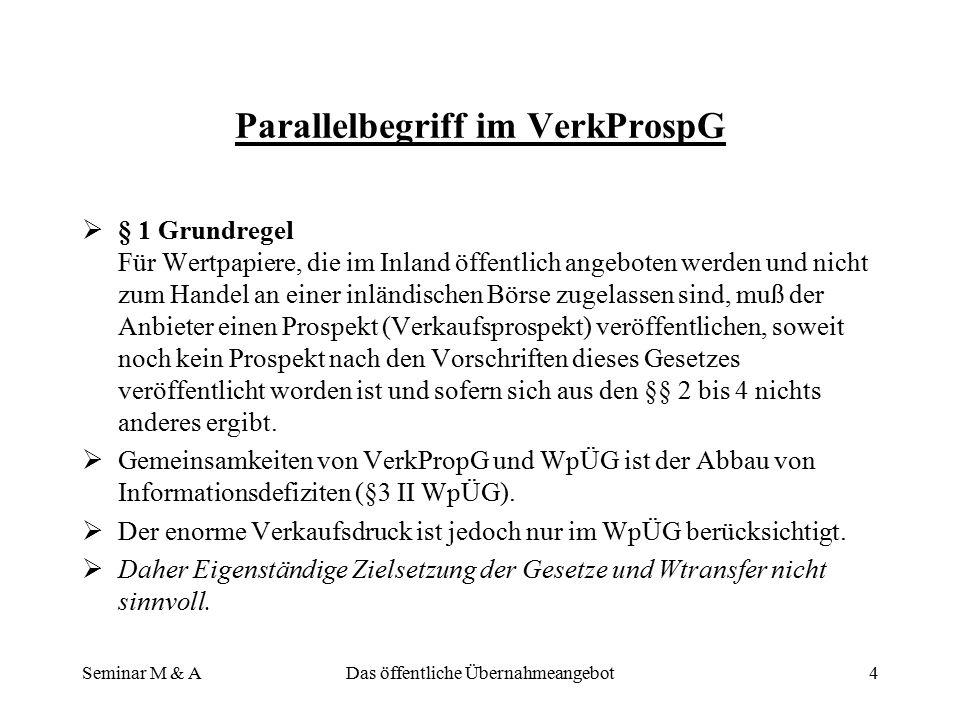 Parallelbegriff im VerkProspG