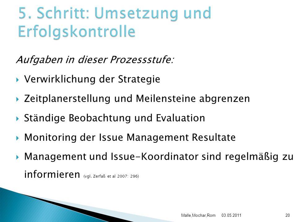 Aufgaben in dieser Prozessstufe: Verwirklichung der Strategie