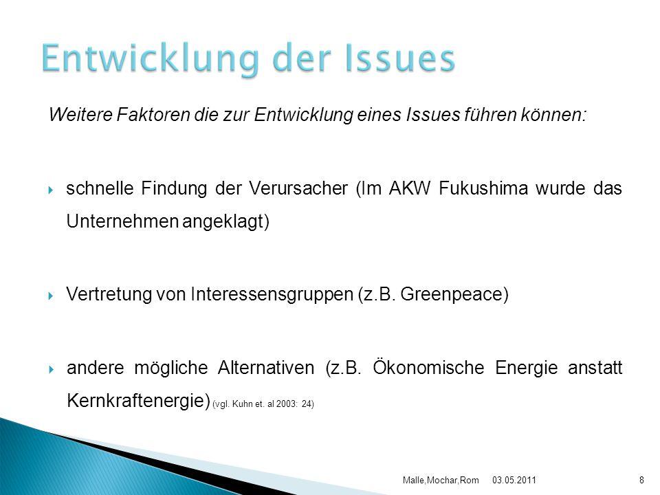 Weitere Faktoren die zur Entwicklung eines Issues führen können: