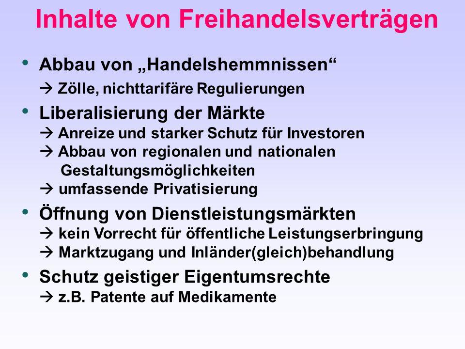 Inhalte von Freihandelsverträgen