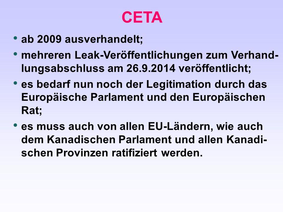 CETA ab 2009 ausverhandelt;