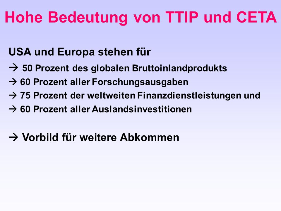 Hohe Bedeutung von TTIP und CETA