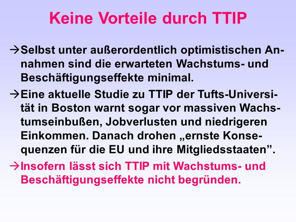 Keine Vorteile durch TTIP
