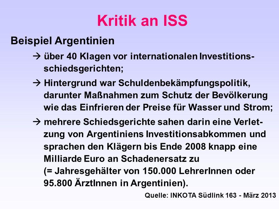 Kritik an ISS Beispiel Argentinien