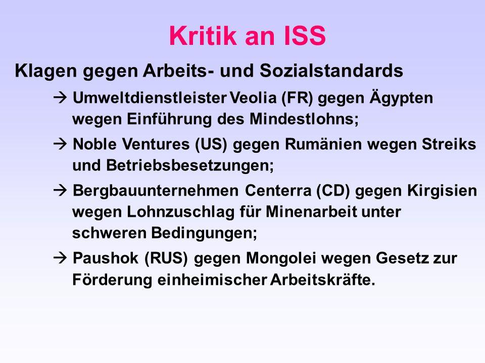 Kritik an ISS Klagen gegen Arbeits- und Sozialstandards