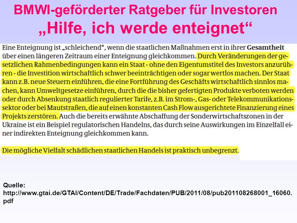 """BMWI-geförderter Ratgeber für Investoren """"Hilfe, ich werde enteignet"""