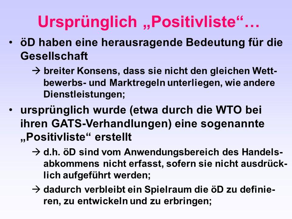 """Ursprünglich """"Positivliste …"""