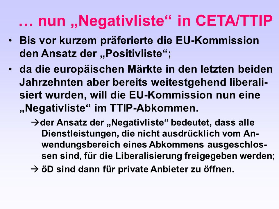 "… nun ""Negativliste in CETA/TTIP"