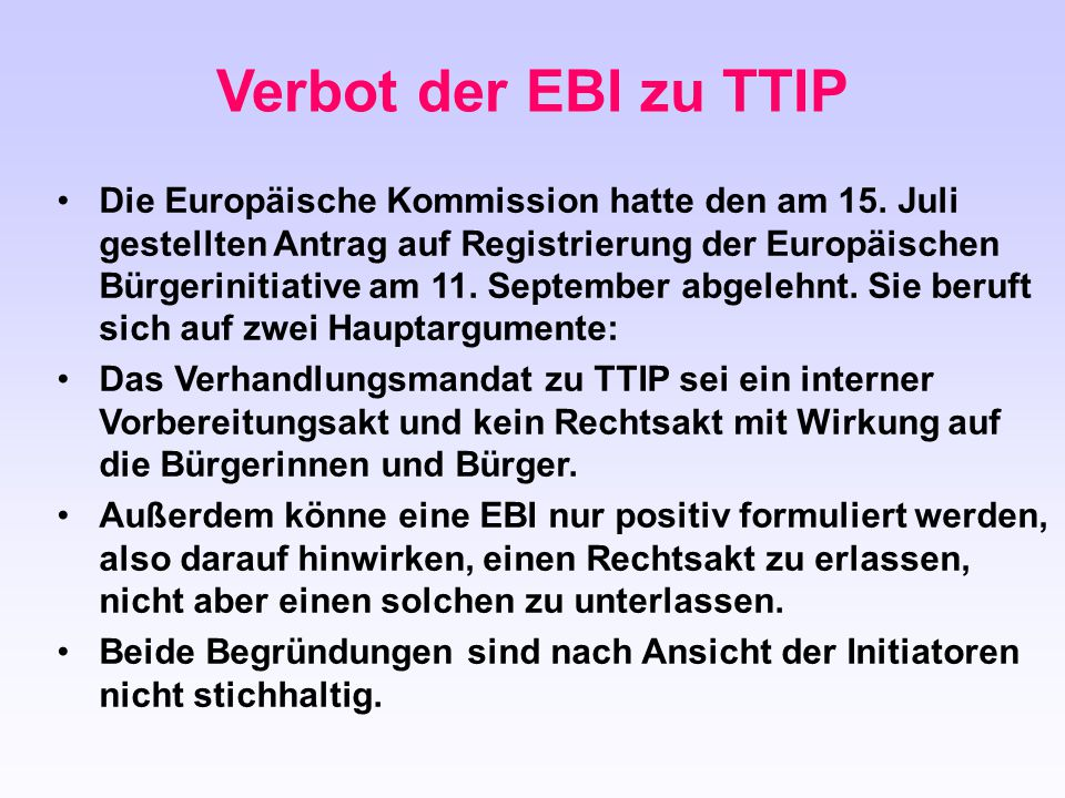 Verbot der EBI zu TTIP