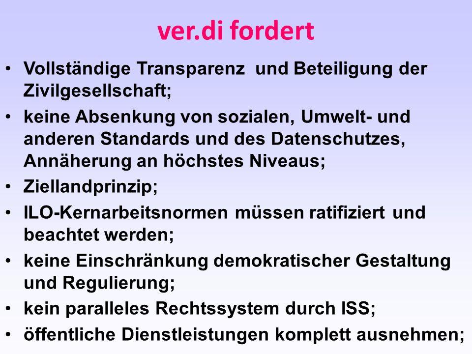 ver.di fordert Vollständige Transparenz und Beteiligung der Zivilgesellschaft;