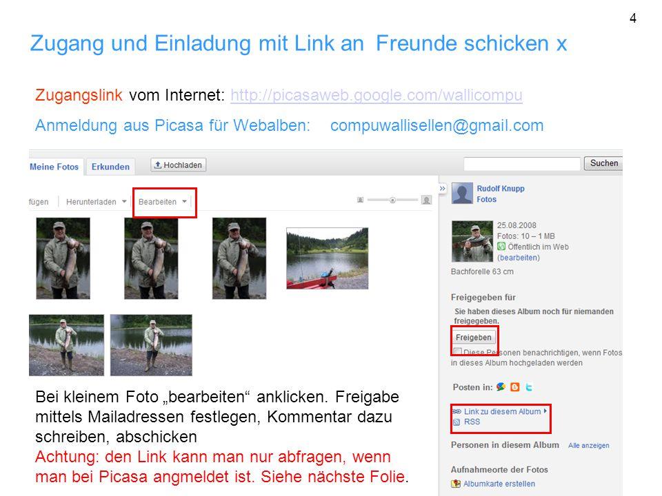 Zugang und Einladung mit Link an Freunde schicken x