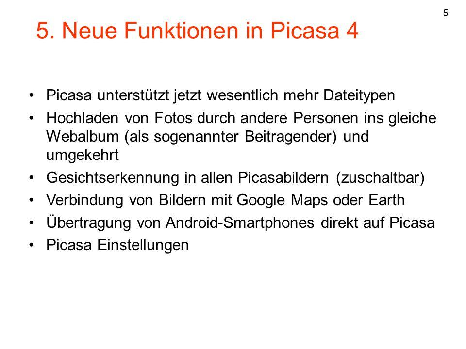 5. Neue Funktionen in Picasa 4
