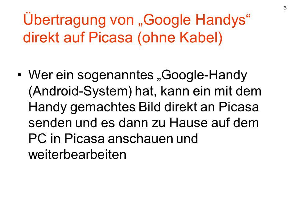 """Übertragung von """"Google Handys direkt auf Picasa (ohne Kabel)"""